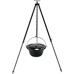 Gulaschkessel Gulaschtopf Set 15 Liter emailliert mit Deckel und Teleskop Dreibein 180 cm durch Kettenzug höhenverstellbar / Feuerkessel – Suppentopf – Outdoorkocher – Glühweintopf – Glühweinkessel