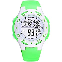 Digital-analog Boys Girls Luminous Sport Digital Watch with Alarm Stopwatch Chronograph - 50m Water Proof(Green)