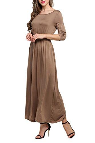 MEXI Damen Kleider Damen Festlich Maxi Kleider Club Kleider Style 02-Kaffee