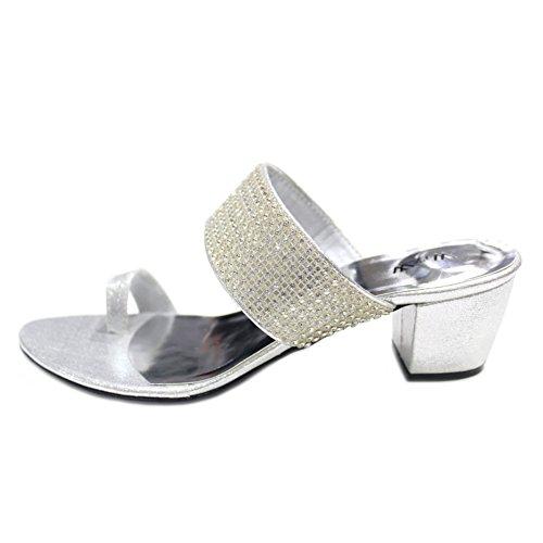 W & W femmes Mesdames Soirée Confort Sandales à enfiler original Swarovski Pierre Fêtes de mariage Taille moyenne Bloc Talon Chaussures Taille 4–9(Peri) Argent - argent