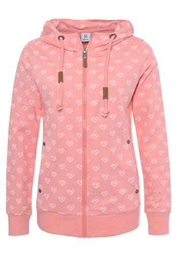 Sublevel Damen Alloverprint Sweatjacke mit Kapuze | Sportlich-Eleganter Hoodie in Rosé, Weiß & Blau Light-pink L (Rosa Sweatshirt Hoodie Zip)