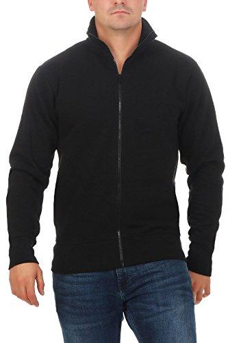 Happy Clothing Herren Sweatjacke ohne Kapuze Zip-Jacke Reißverschluss mit Kragen, Größe:M, Farbe:Schwarz