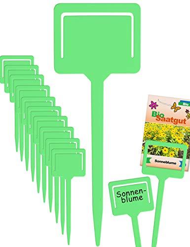 HomeTools.eu® - 10 Pflanz-Schilder | Steck-Etiketten Pflanzen-Stecker | Kunststoff beschreibbar, mit Klemme für Saatgut-Beutel, Wetter-fest | 18cm, grün