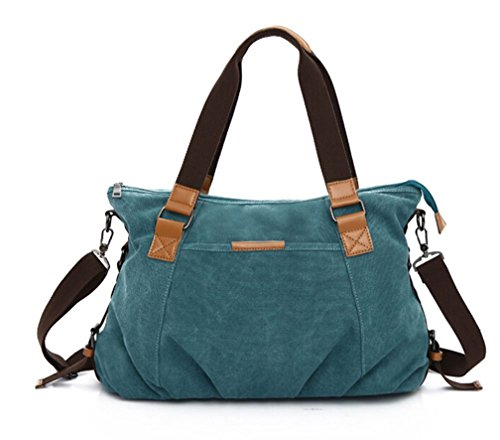 KISS GOLD Retro abwaschbare Damen Schultertasche Canvas Totes Hobo Bag, Blau (Square Handle Bag Top)