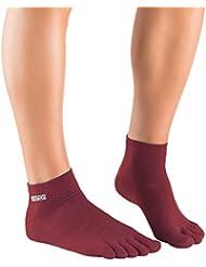 Knitido Track & Trail Ultralite Fresh - Tobilleros con dedos, algodón y Coolmax®, Talla:39-42, Colores:Marsala (561)