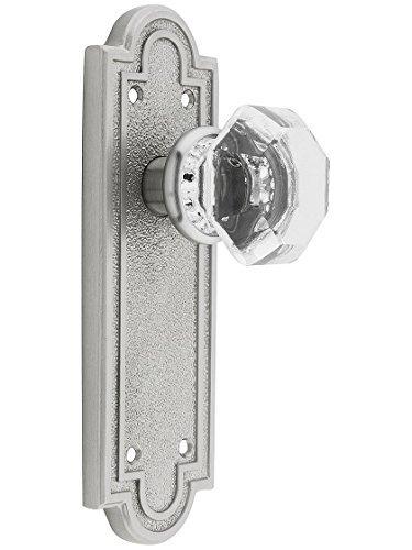 Belmont Plate Set With Old Town Crystal Door Knobs Passage Satin Nickel. Antique Brass Door Hardware. by Emtek -