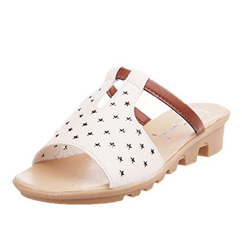 Transer ® Confort d'été de femmes sandales solides chaussons Blanc