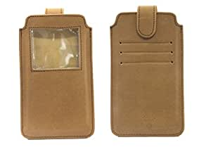 Jo Jo A10 Nillofer Leather Carry Case Pouch Wallet S View For LG L60 Tan