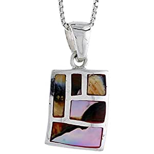 """Revoni Sterling Silver Rectangular Shell Pendant, w/ Colorful Mother of Pearl inlay, 7/8"""" (22mm) tall& 18"""" Thin Snake Chain"""