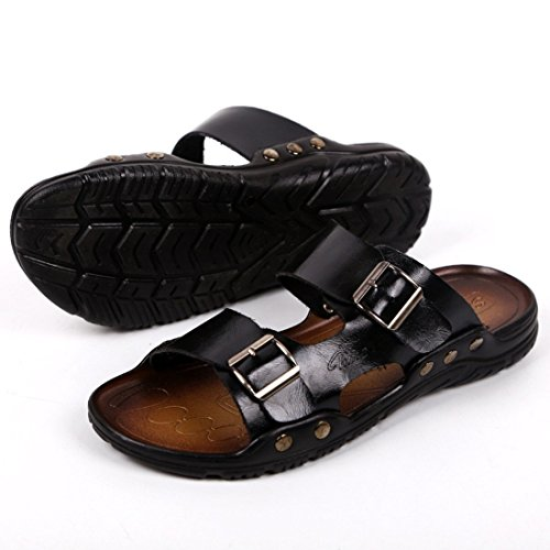 Men's Retro Beach Pu Leather Sandals Black