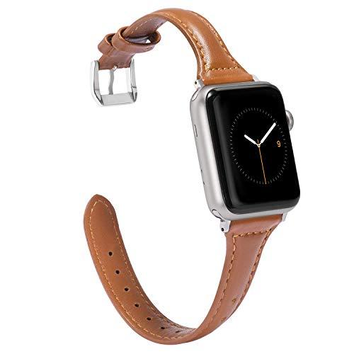 Wearlizer für Apple Watch 38mm Armband Leder, Echtleder Schlank für iWatch Straps Ersatz Lederarmband 38mm 40mm für Apple Watch Series 4 3 2 1 - Braun -