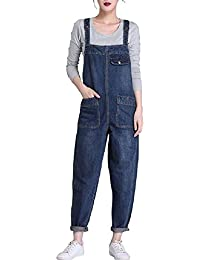 53707a2484 Lazutom Women s Loose Fit Casual Baggy Denim Bib Dungarees Overall