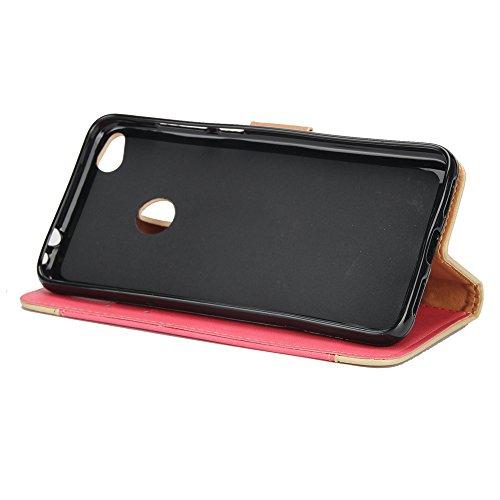 Gemischte Farben Rose Blume matt Premium PU Leder Brieftasche Stand Case Cover mit Lanyard & Card Slots für Huawei P8 Lite 2017 ( Color : Brown ) Red