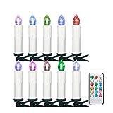 Jingrong 10 stücke Multicolor Weihnachten LED Kerzen, Drahtlose Weihnachtskerzen, Weihnachtsbaum Dekoration mit Fernbedienung, Wireless Weihnachtsdekoration zur Hochzeit, (Batterie nicht enthalten)