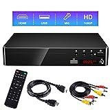 Gueray Tragbarer DVD Player für alle Regionen Kostenloser DVD-CD-Player mit HD 1080P-Upscaling und externer Festplattenwiedergabe USB-Anschluss Fernbedienung HDMI- und AV-Kabel