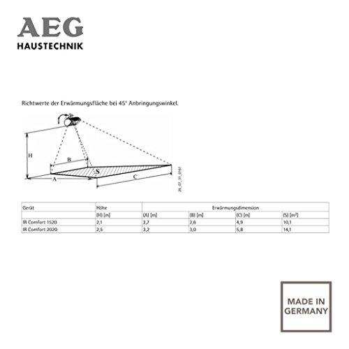 AEG Infrarot-Heizstrahler IR Comfort 2020 W, 2000 W, Goldröhre für Innenbereich, 229952 - 4
