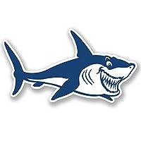 2 x 10cm Large Shark White Vinyl Sticker for Laptop iPad Car Helmet Fun Kids #5104