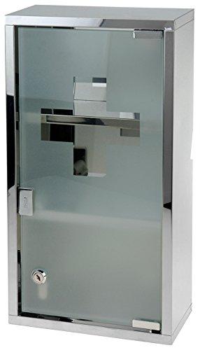 Edelstahl Medizinschrank mit Tip-on Automatik Arzneischrank Medikamentenschrank Hausapotheke Erste-Hilfe Wandschrank 25x48,5x12cm