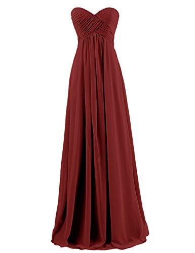 Dresstells, Robe de demoiselle d'honneur Robe de soirée mousseline forme empire longueur ras du sol Rouge