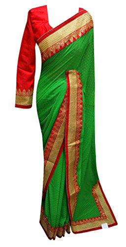 Desi Sarees Bordüre Saree - 7100, bollywood Indien Net exklusive Party wear sari London, Grün