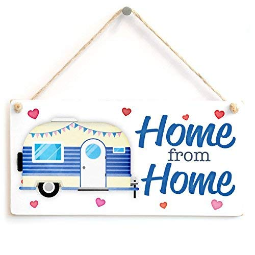 prz0vprz0v Home from Home Sweet Small Caravan Hanging Sign Home Decor 10 X 5 Inch Wood Sign Decorative Sign
