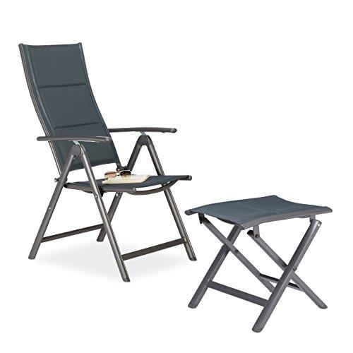 2 tlg. Gartenstuhl und Hocker Set gepolstert, Klappstuhl, Faltstuhl, Camping-Stuhl, Klapphocker,...