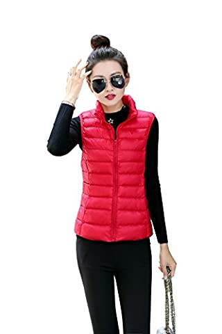 Quibine Damen Stehkragen Stopfbarer Ultra-Leichtgewicht Daunenweste mit Aufbewahrungstasche, rot, Medium
