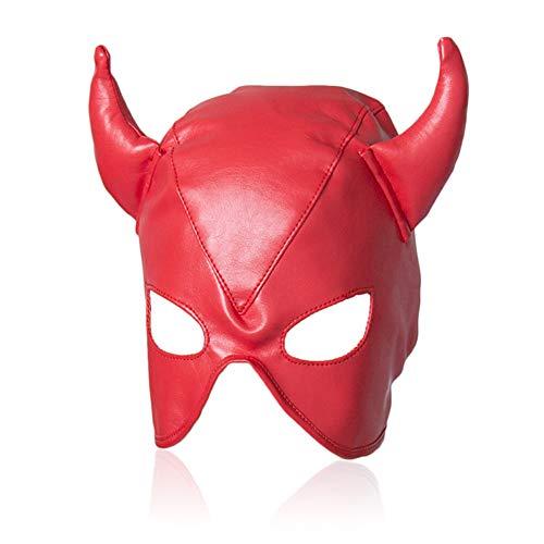 BDSM Leder Hood Hood Fetisch Kleidung erotische Einschränkungen Teufel Form und Horn Super sexy Index