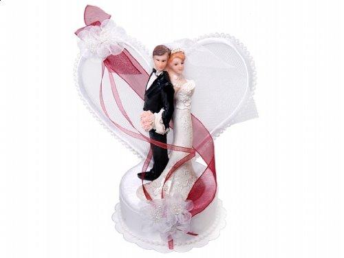 SiDeSo Tortenaufsatz Hochzeit Tortendeko Brautpaar Tortenfigur (Herzpodest rot)