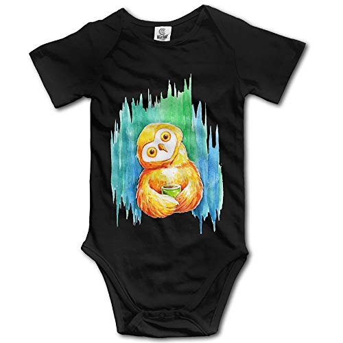 Owl Baby Cute Kostüm - TKMSH Cute Printing Owl Boy's & Girl's Short Sleeve Baby Climbing Clothes Black