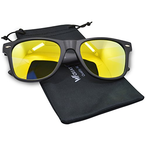 WHCREAT Wayfarer Unisex Polarizado Gafas de sol Bisagra de primavera Marco mate UV 400 Lente de protección - Mate Negro Marco Dorado Lente