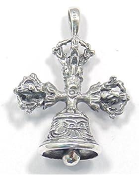 Silber Anhänger Dorje 3 fach mit Glocke, tibetischer Anhänger, 925 Sterling Silber