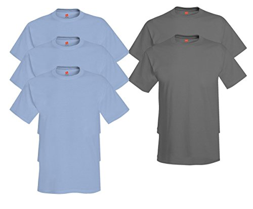 Hanes Mens Tagless Comfortsoft Crewneck T-shirt (Pack of 5) 3 Light Blue / 2 Smoke Gray