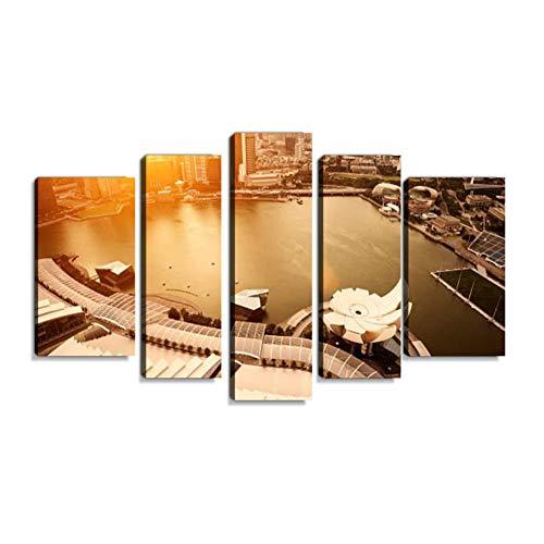 Inbel Kunst Stadt bei Sonnenuntergang Wandbilder abstrakt Leinwandbild Digitalkunstdruck leinwanddrucke Eigenes Design Gemälde Wanddekoration mit Holzrahmen 5-teilig