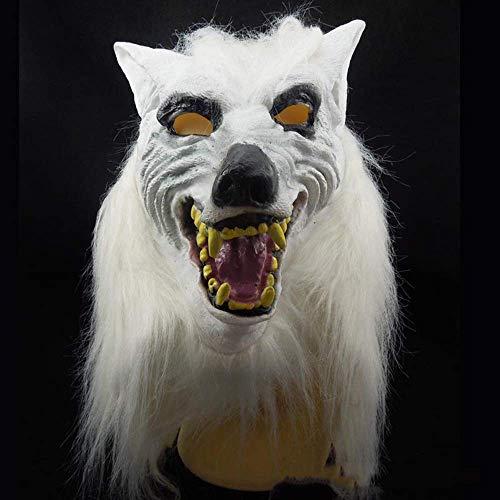 Wolf Der Leuchtende Kostüm - XDDXIAO Halloween Maske, Full Head Wolf Kopfbedeckung Horror Dämonen Maskerade Maske Horror Halloween Kostüm Party Kinder und Erwachsene - Weiß