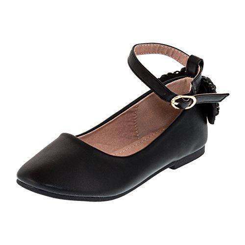 Dorémi Festliche Kinder Mädchen Ballerinas Schuhe mit Zierblume M420sw Schwarz 33