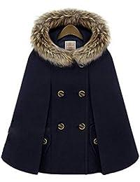 4640ff790217 YOGLY Manteau Femme Chaude Hiver Épais Poncho Cape à Capuche Veste Châle  Casual Double Boutonnage Outwear