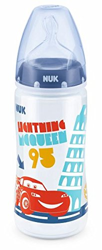 NUK Disney Pixar Cars First Choice Plus Babyflasche, Silikon-Trinksauger, 6-18 Monate, 300ml, M (Milch), blau