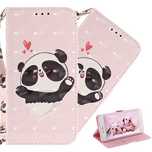 COTDINFOR Huawei Honor 8X Hülle 3D-Effekt Painted cool Schutzhülle PU Leder Flip Bookcase Handy Tasche Schale mit Magnet Standfunktion Etui für Huawei Honor 8X Love Panda TX.