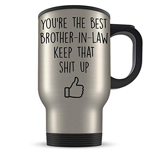 UltimateGiftsShop Brother In Law Travel Mug Best Funny Gift for the World's Greatest Bro Inlaw Ever This Awesome Gag Coffee Cup is a Great Family Themed Present Idea