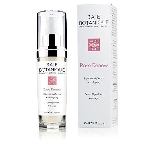 Baie Botanique Anti-Aging Gesichtsserum mit 15% Hyaluronsäure, Rosenwasser, Rose Absolue, Hagebuttenkernöl, Glykolsäure. 98% natürlich, 80% biologisch.