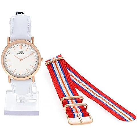 Señoras THINK POSITIVE® Modelo SE W95 Rosè Pulsera De Cristal Reloj Medio Plana De Acero De La Correa De Cuero Blanco Hecho En Italia Y Cordora Color Rojo, Azul, Blanco