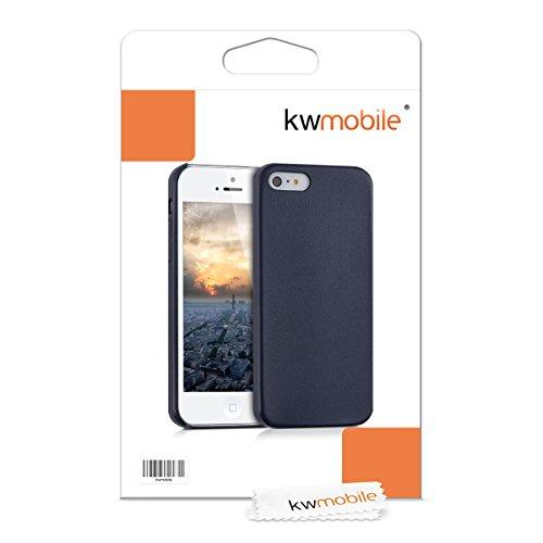 kwmobile Hülle für Apple iPhone SE / 5 / 5S - Kunstleder Case Handy Schutzhülle - Backcover Cover Beige .Dunkelblau