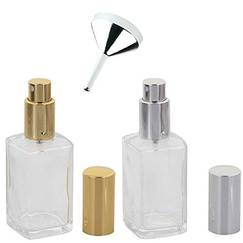 Glas-Flakon, leer, Parfüm-Zerstäuber, 50ml mit Trichter, Kosmetex, für Parfum, Colognes, leer, 2er Set+1 Trichter (Parfüm-flasche Glas)