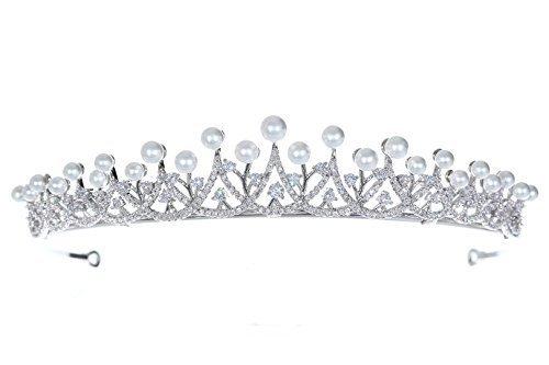 Venus Jewelry Tiara o corona de boda de cristal de princesa de Cubic para mujer Claro