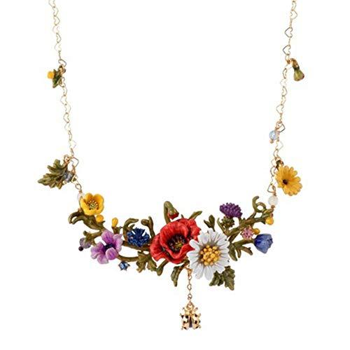 HAOHAO Ausgefallene Halskette Blume Serie Glaze Daisy White Daisy Halskette Marienkäfer Zweig Halskette (Teen Marienkäfer Kostüm)