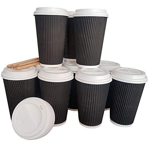 Dove Factor Einweg Kaffeebecher aus Papier, mit Deckel und Rührlöffel to go (50Pack-Klauenhammer, | 12oz)-Ripple Isolierung, Schwarz, 340,2 g (12 oz)
