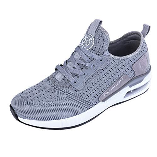 CUTUDE Damen Sommer Hollow Mesh Breathable Sneakers Leichte Freizeit Laufschuhe Schnüren Leichte Stoßfest Mode Sportschuhe Outdoor Athletisch Sneaker (Grau, 42 EU) -