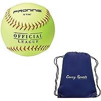 Bolas de Softball ProNine, Color Amarillo, múltiples Opciones de tamaño/Estilo (Paquetes de Varias Unidades), Incluye Bolsa de Bolas Deportivas Covey, 3-Balls