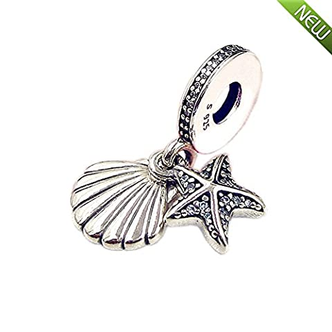 PANDOCCI 2017 New Summer Blue Tropical Starfish and Seashell Pendant Authentic 925 Sterling Silver Bead Fit for Pandora Bracelets Jewelry